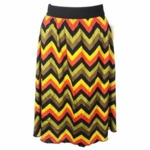LuLaRoe (S) Lola Circle Skirt Black Gold Chevron